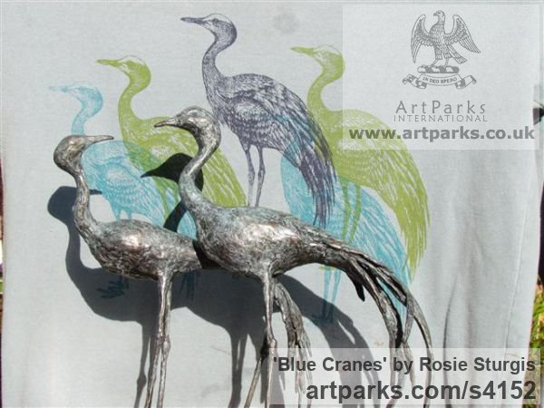 Bronze Flock of Birds sculpture statuette sculpture by sculptor Rosie Sturgis titled: 'Blue Cranes (Wader Birds Indoor sculpture/statues)' - Artwork View 5