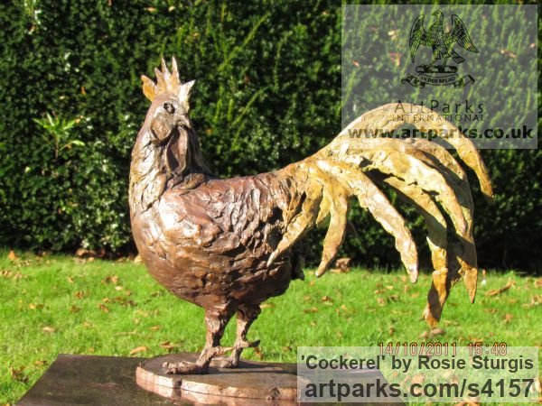 Bronze Farm Yard sculpture by sculptor Rosie Sturgis titled: 'Cockerel (bronze Rooster, Cock, Little statuettes)'