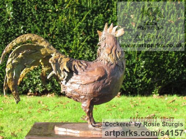 Bronze Farm Yard sculpture by sculptor Rosie Sturgis titled: 'Cockerel (Bronze Rooster, Cock, Little statuettes)' - Artwork View 2