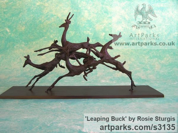 Bronze Deer sculpture by sculptor Rosie Sturgis titled: 'Leaping Buck (Small Jumping African Antelopes statue)'