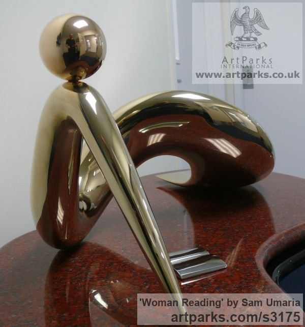 Bronze and Granite Females Women Girls Ladies sculpture statuettes figurines sculpture by sculptor Sam Umaria titled: 'Woman Reading (abstract Indoor Bronze Lying statuette)'