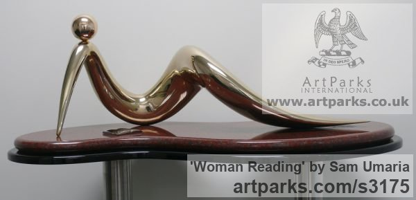Bronze and Granite Females Women Girls Ladies sculpture statuettes figurines sculpture by sculptor Sam Umaria titled: 'Woman Reading (abstract Indoor Bronze Lying statuette)' - Artwork View 2