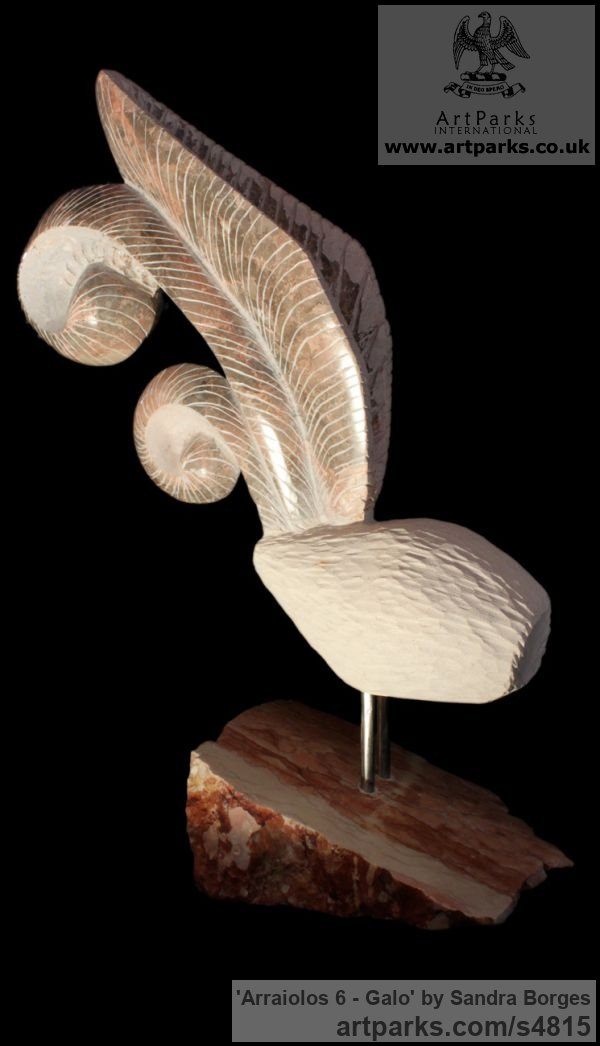 Breccia and limestone Varietal Mix of Bird Sculptures or sculpture by sculptor Sandra Borges titled: 'Arraiolos 6 - Galo (abstract stone Feather sculpture)'