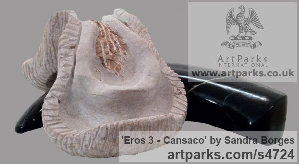Stone Phallic sculpture by artist Sandra Borges titled: 'Eros 3 - Cansaco (Phalic Sensual Sexual Erotic statuette sculpture)' - Artwork View 1