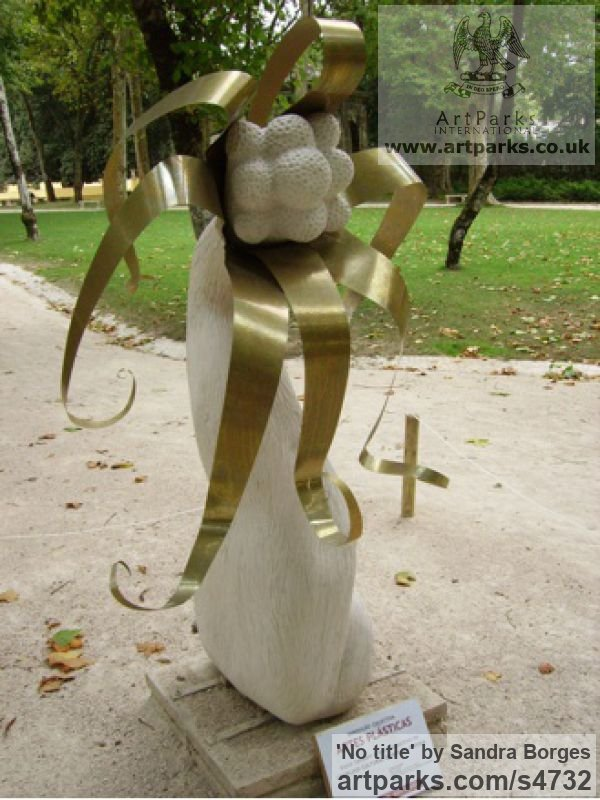 Limestone and brass Garden Or Yard / Outside and Outdoor sculpture by sculptor Sandra Borges titled: 'No title'