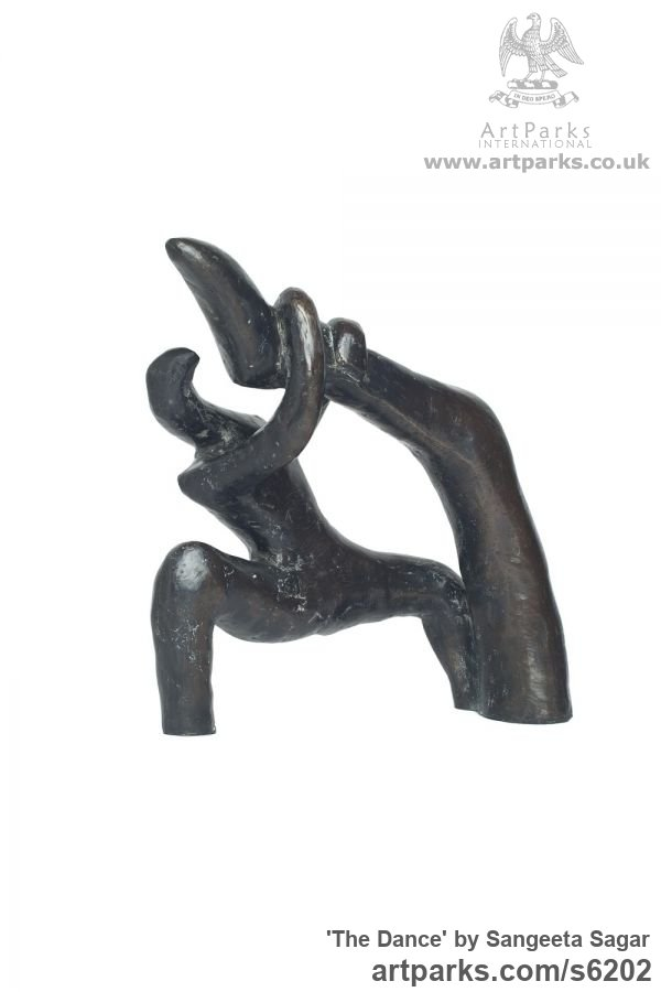 Bronze Abstract Dance / Dancer sculpture by sculptor Sangeeta Sagar titled: 'Dance (Little Semi abstract nude Dancer Indoor sculpture/statuettes)' - Artwork View 2