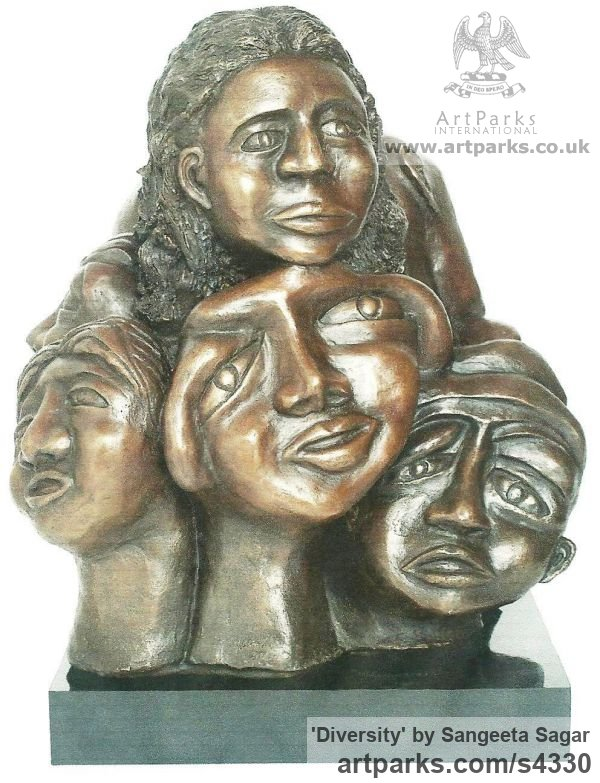 Bronze Interior, Indoors, Inside sculpture by sculptor Sangeeta Sagar titled: 'Diversity (Little Bronze Group of Faces sculpture/statuette/statue)' - Artwork View 1