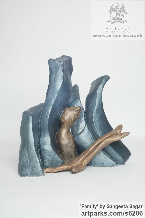 Casting plaster Conceptual Art sculpture often Large or Monumental Abstract Art by sculptor Sangeeta Sagar titled: 'Family (abstract Family sculpture/statuette/maquette/figurine)'