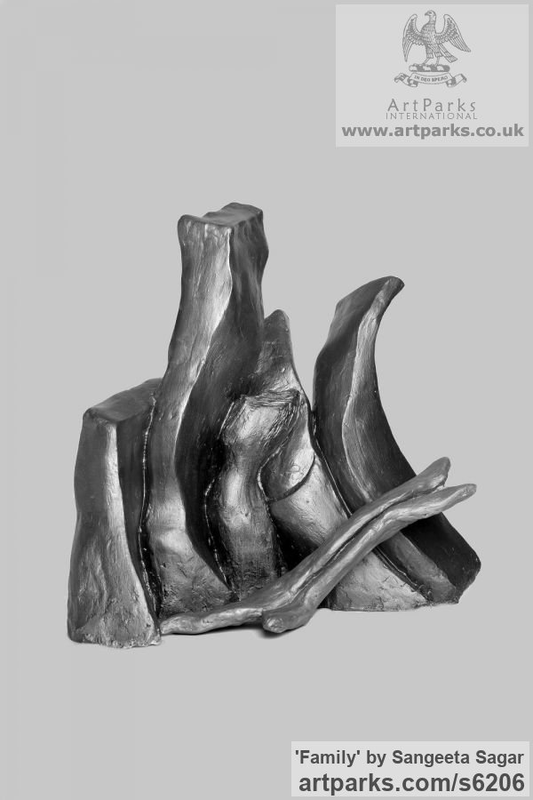 Casting plaster Conceptual Art sculpture often Large or Monumental Abstract Art by sculptor Sangeeta Sagar titled: 'Family (abstract Family sculpture/statuette/maquette/figurine)' - Artwork View 2