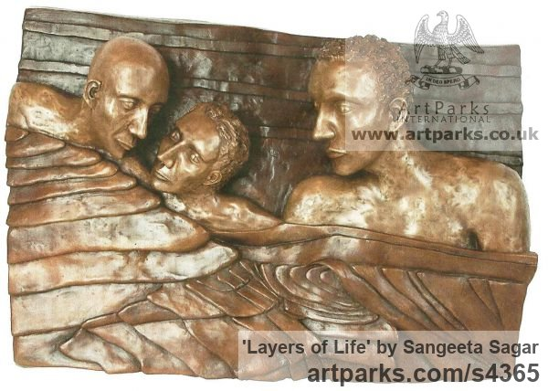 Bronze Wall Mounted or Wall Hanging sculpture by sculptor Sangeeta Sagar titled: 'Relation (Three in a Bed statuette sculpture Casting statue)' - Artwork View 1