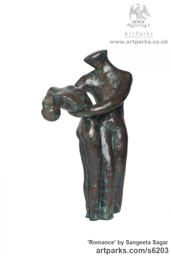 Bronze Abstract Dance / Dancer sculpture by sculptor Sangeeta Sagar titled: 'Romance (Small bronze Lovers Embracing/Dancing statuette/sculpture)' - Artwork View 1