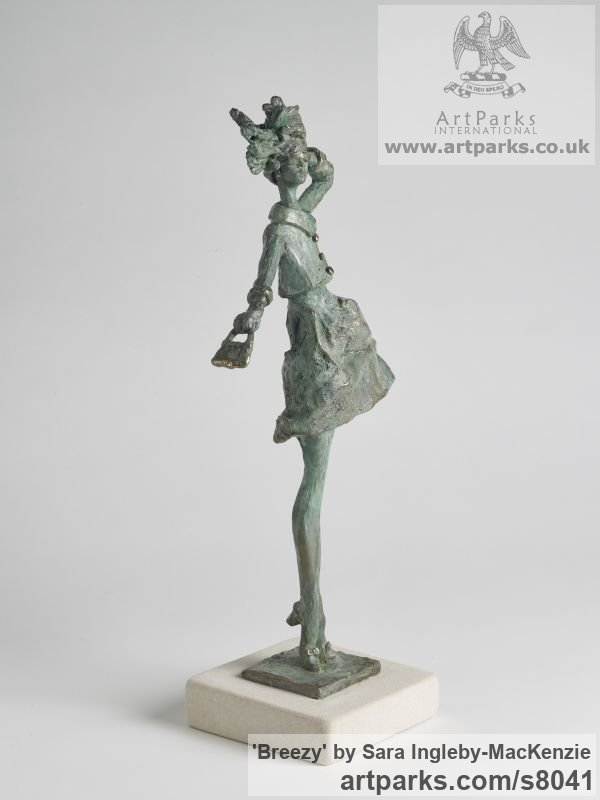 Bronze and Portland Stone Females Women Girls Ladies sculpture statuettes figurines sculpture by sculptor Sara Ingleby-MacKenzie titled: 'Breezy (Thin Girl Model Standing in Wind statue)' - Artwork View 2