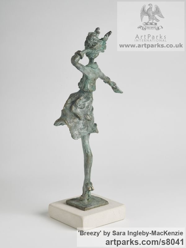 Bronze and Portland Stone Females Women Girls Ladies sculpture statuettes figurines sculpture by sculptor Sara Ingleby-MacKenzie titled: 'Breezy (Thin Girl Model Standing in Wind statue)' - Artwork View 4