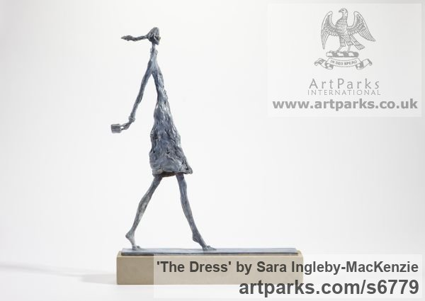 Bronze and Stone Females Women Girls Ladies sculpture statuettes figurines sculpture by sculptor Sara Ingleby-MacKenzie titled: 'The Dress (Posturing Cat Walk Model sculpture)' - Artwork View 1