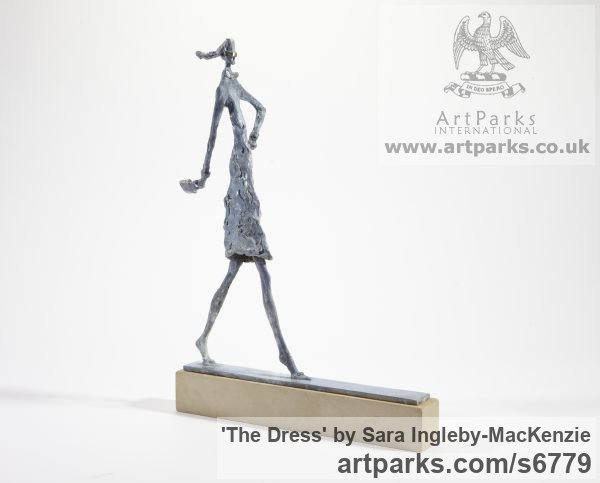 Bronze and Stone Females Women Girls Ladies sculpture statuettes figurines sculpture by sculptor Sara Ingleby-MacKenzie titled: 'The Dress (Posturing Cat Walk Model sculpture)' - Artwork View 2