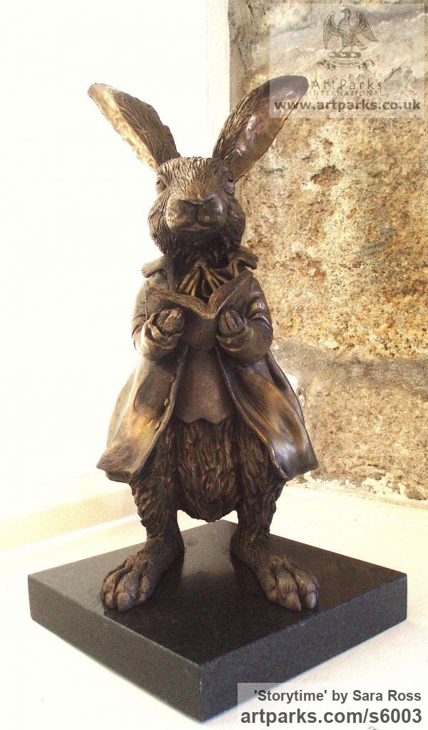 Wild Animals and Wild Life sculpture by sculptor Sara Ross titled: 'Storytime (Rabbit Clothed and Reading a Book sculptures)'