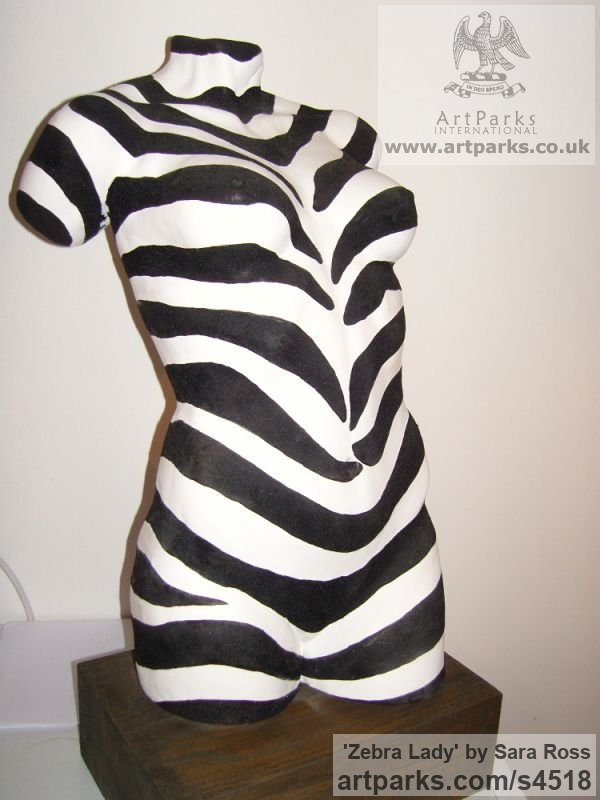 Flocked Ceramic Flamboyant Colourful Exuberant Exotic Gaudy Gorgeous Dedcorative Vivid Brightly Coloured Spectacular sculpture by sculptor Sara Ross titled: 'Zebra Lady (Zebra Stripes Decorated nude Torso statues)'