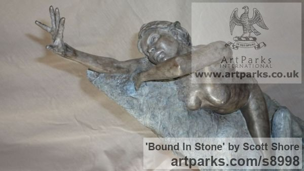 Bronze Maquette For Larger Monumental Massive Big or Large statue or sculpture by sculptor Scott Shore titled: 'Bound In Stone (Breaking Free nude Girl sculpture)'