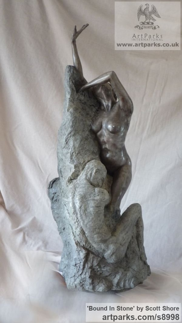 Bronze Maquette For Larger Monumental Massive Big or Large statue or sculpture by sculptor Scott Shore titled: 'Bound In Stone (Breaking Free nude Girl sculpture)' - Artwork View 2