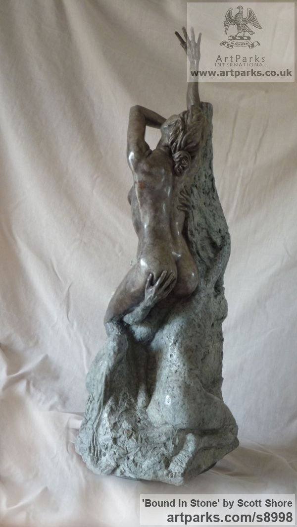 Bronze Maquette For Larger Monumental Massive Big or Large statue or sculpture by sculptor Scott Shore titled: 'Bound In Stone (Breaking Free nude Girl sculpture)' - Artwork View 3