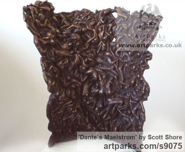 Bronze Art Inspired by Great Paintings sculpture by sculptor Scott Shore titled: 'Dante`s Maelstrom (Bronze Depiction of Inferno panel)' - Artwork View 1