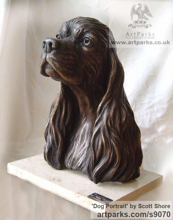 Bronze Garden Or Yard / Outside and Outdoor sculpture by sculptor Scott Shore titled: 'Dog Portrait (Bronze Spaniel Life Commission sculpture)'