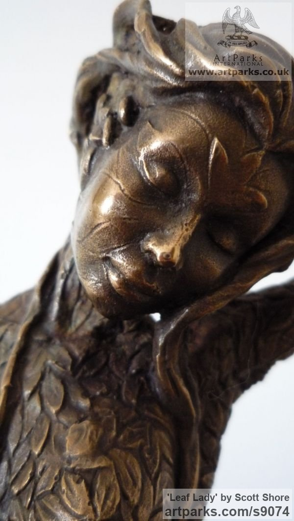... Bronze Fantasy sculpture or sculpture by sculptor Scott Shore titled:  'Leaf Lady (Nature
