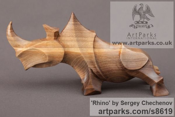 Sculpture rhino stylised contemporary carved wood