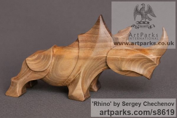 Wood: walnut Animal Abstract Contemporary Modern Stylised Minimalist sculpture by sculptor Sergey Chechenov titled: 'Rhino (Stylised Contemporary Carved Wood statue)' - Artwork View 2