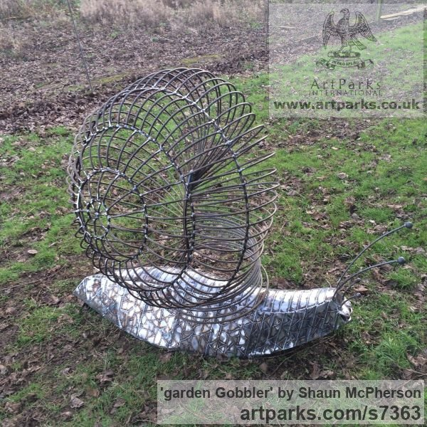Mild steel Abstract Contemporary Modern Outdoor Outside Garden / Yard sculpture statuary sculpture by sculptor Shaun McPherson titled: 'garden Gobbler (Giant Big Outsize Mild Steel Snail sculpture)'