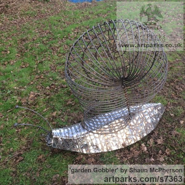 Mild steel Abstract Contemporary Modern Outdoor Outside Garden / Yard sculpture statuary sculpture by sculptor Shaun McPherson titled: 'garden Gobbler (Giant Big Outsize Mild Steel Snail sculpture)' - Artwork View 2