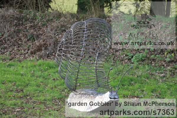 Mild steel Abstract Contemporary Modern Outdoor Outside Garden / Yard sculpture statuary sculpture by sculptor Shaun McPherson titled: 'garden Gobbler (Giant Big Outsize Mild Steel Snail sculpture)' - Artwork View 4