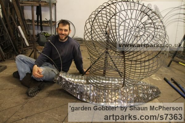 Mild steel Abstract Contemporary Modern Outdoor Outside Garden / Yard sculpture statuary sculpture by sculptor Shaun McPherson titled: 'garden Gobbler (Giant Big Outsize Mild Steel Snail sculpture)' - Artwork View 5