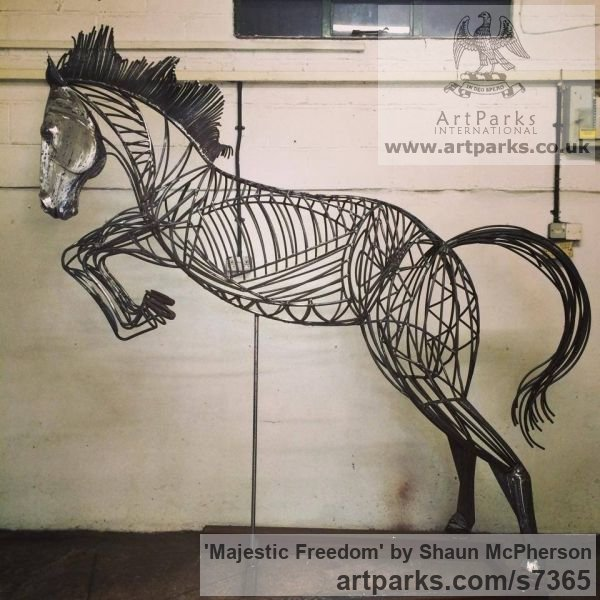Mild steel Garden Or Yard / Outside and Outdoor sculpture by sculptor Shaun McPherson titled: 'Majestic Freedom (Metal Outdoor life size Jumping Horse sculpture)' - Artwork View 2