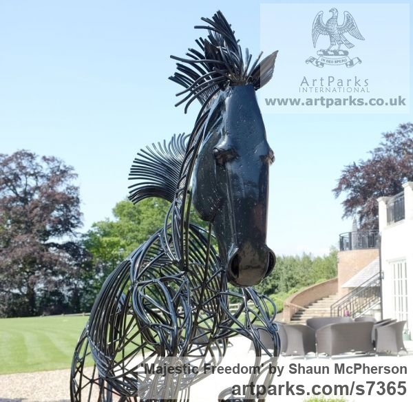 Mild steel Garden Or Yard / Outside and Outdoor sculpture by sculptor Shaun McPherson titled: 'Majestic Freedom (Metal Outdoor life size Jumping Horse sculpture)' - Artwork View 4