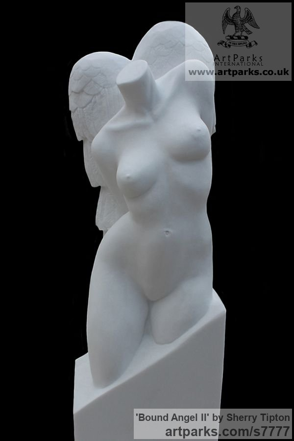 Thassos Marble Torsos Chests Females / Women / Girls / Damsels sculpture statuary sculpture by sculptor Sherry Tipton titled: 'Bound Angel II'