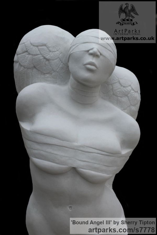 Thassos Marble Females Women Girls Ladies sculpture statuettes figurines sculpture by sculptor Sherry Tipton titled: 'Bound Angel III' - Artwork View 2