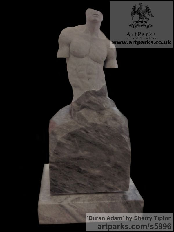 Turkish Afyon Marble Male Men Youths Masculine sculpturettes figurines sculpture by sculptor Sherry Tipton titled: 'Duran Adam' - Artwork View 2