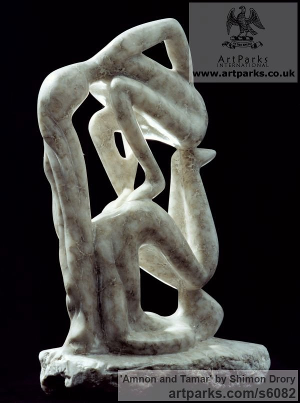 Marble Monumental Contemporary Abstract Modern sculpture by sculptor Shimon Drory titled: 'Amnon and Tamar (Little Carved stone abstract figurative statuette)'