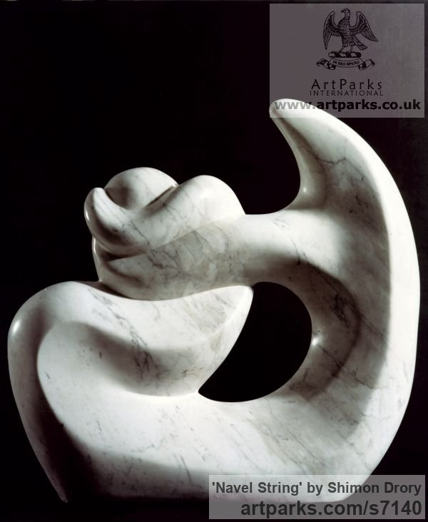 Carrara marble Abstract Contemporary or Modern Outdoor Outside Exterior Garden / Yard sculpture statuary sculpture by sculptor Shimon Drory titled: 'Navel String (Carved marble abstract Contemporary Modern statues)'