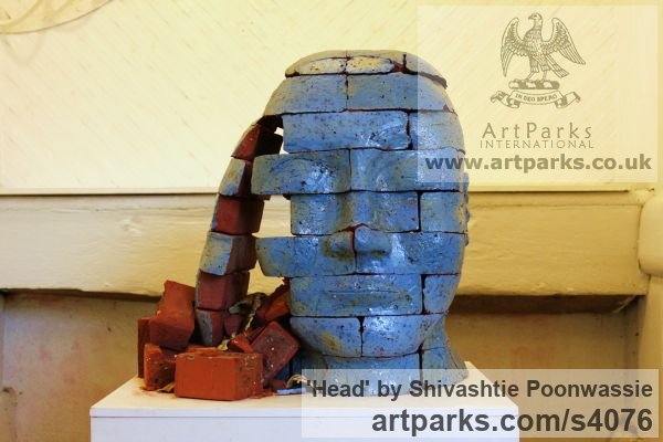 Brick Garden Or Yard / Outside and Outdoor sculpture by sculptor Shivashtie Poonwassie titled: 'Head (Blue) 2010 (abstract Outsize Brick Head sculptures/statues)' - Artwork View 1