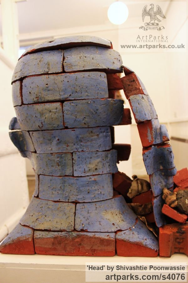Brick Garden Or Yard / Outside and Outdoor sculpture by sculptor Shivashtie Poonwassie titled: 'Head (Blue) 2010 (abstract Outsize Brick Head sculptures/statues)' - Artwork View 3
