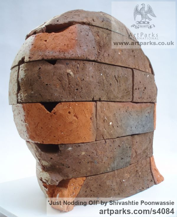 Brick Busts and Heads sculpture statuettes Commissions Bespoke Custom Portrait Memorial Commemorative sculpture or sculpture by sculptor Shivashtie Poonwassie titled: 'Just Nodding Off' - Artwork View 3
