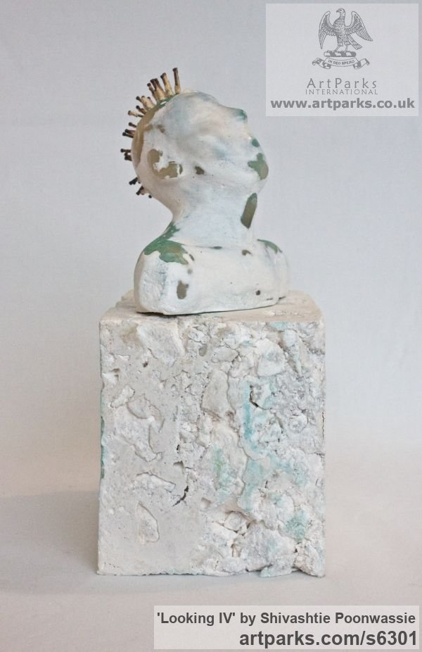 Plaster, wax Male Men Youths Masculine sculpturettes figurines sculpture by sculptor Shivashtie Poonwassie titled: 'Looking IV (Little Star Gazing Semi abstract Male Punk Bust statuette)'