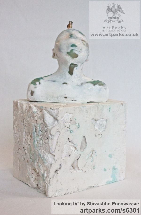 Plaster, wax Male Men Youths Masculine sculpturettes figurines sculpture by sculptor Shivashtie Poonwassie titled: 'Looking IV (Little Star Gazing Semi abstract Male Punk Bust statuette)' - Artwork View 2