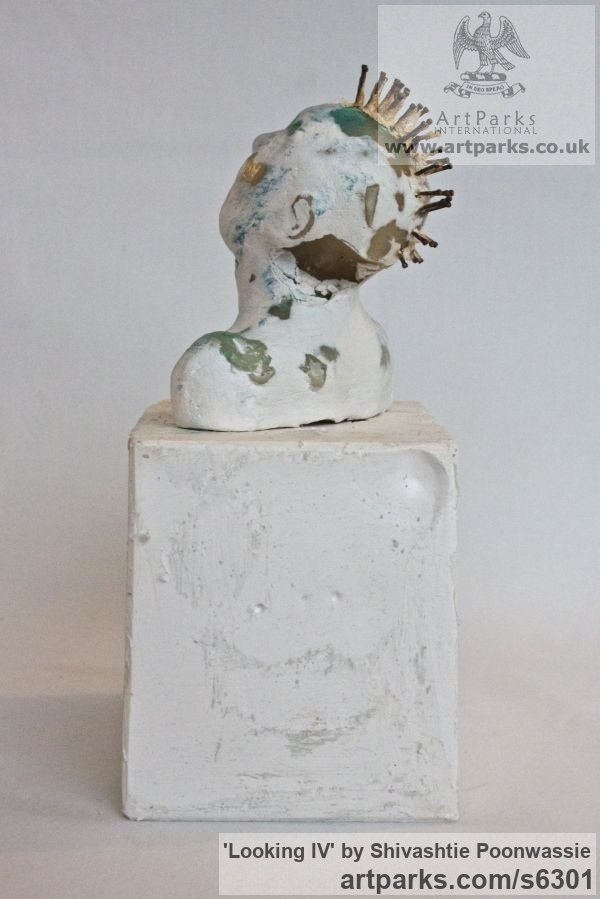Plaster, wax Male Men Youths Masculine sculpturettes figurines sculpture by sculptor Shivashtie Poonwassie titled: 'Looking IV (Little Star Gazing Semi abstract Male Punk Bust statuette)' - Artwork View 4