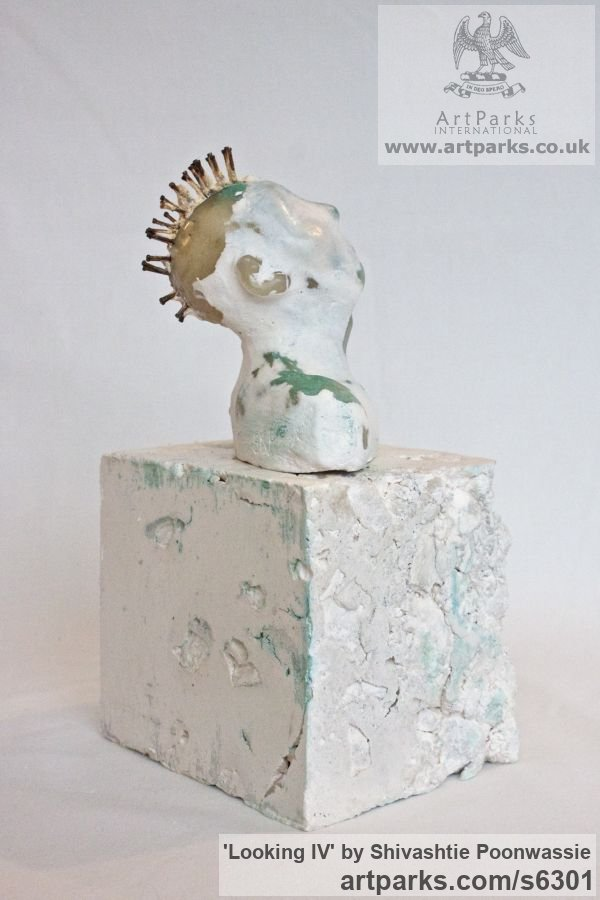 Plaster, wax Male Men Youths Masculine sculpturettes figurines sculpture by sculptor Shivashtie Poonwassie titled: 'Looking IV (Little Star Gazing Semi abstract Male Punk Bust statuette)' - Artwork View 5
