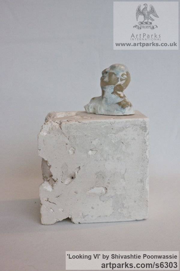 Plaster, wax Male Men Youths Masculine sculpturettes figurines sculpture by sculptor Shivashtie Poonwassie titled: 'Looking VI (Small Head/Bust Ornament/statuette/sculpture/statues)' - Artwork View 1