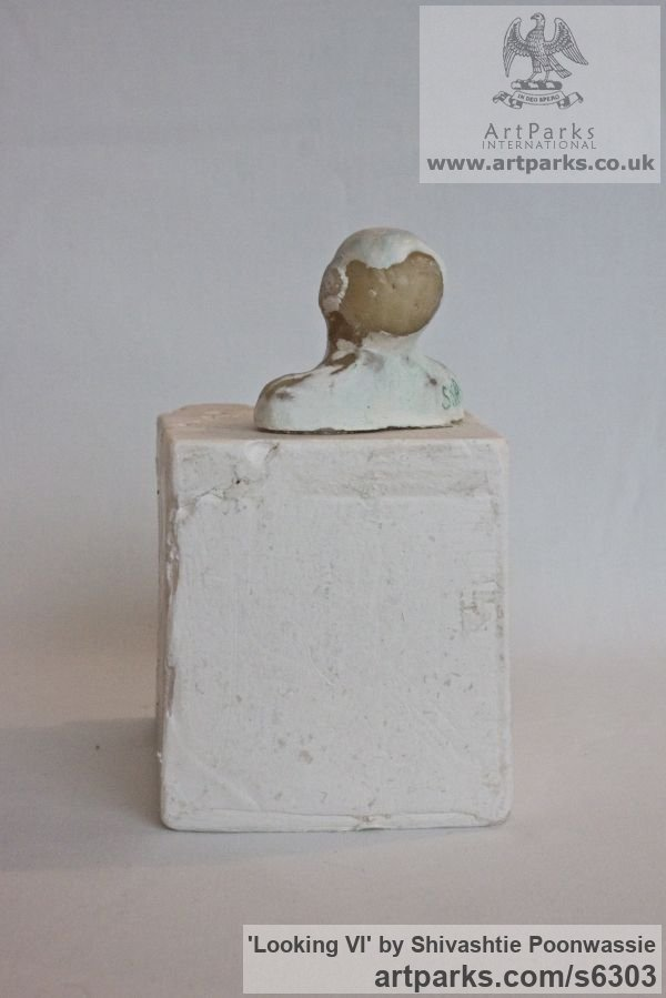 Plaster, wax Male Men Youths Masculine sculpturettes figurines sculpture by sculptor Shivashtie Poonwassie titled: 'Looking VI (Small Head/Bust Ornament/statuette/sculpture/statues)' - Artwork View 4