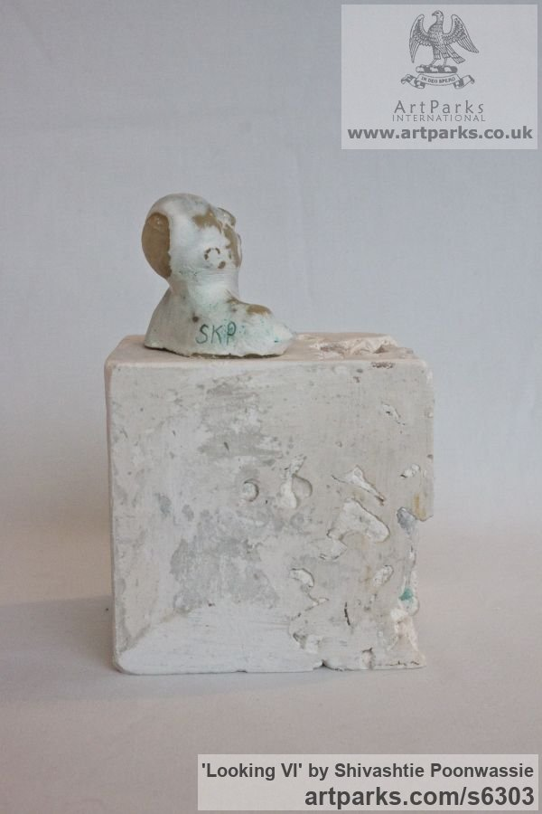 Plaster, wax Male Men Youths Masculine sculpturettes figurines sculpture by sculptor Shivashtie Poonwassie titled: 'Looking VI (Small Head/Bust Ornament/statuette/sculpture/statues)' - Artwork View 5